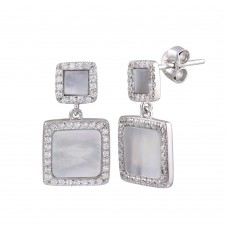 Wholesale Sterling Silver 925 Rhodium Plated Dangling Square Mother of Pearl CZ Earrings - STE01236