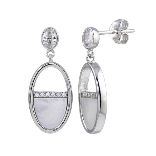 Wholesale Sterling Silver 925 Rhodium Plated Dangling Oval Mother of Pearl CZ Earrings - STE01237