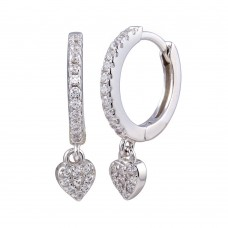 Wholesale Sterling Silver 925 Rhodium Plated Dangling CZ Heart Huggie Earrings - STE01244