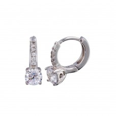Wholesale Sterling Silver 925 Rhodium Plated Round CZ Huggie Earrings 5mm- STE01246