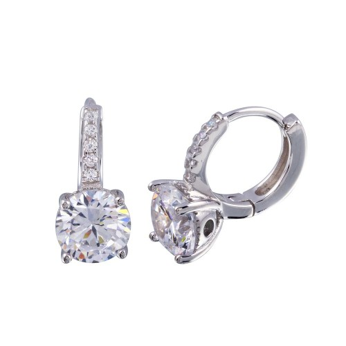 Wholesale Sterling Silver 925 Rhodium Plated Round CZ Huggie Earrings 7mm - STE01247