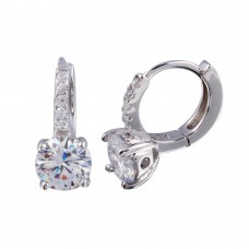 Wholesale Sterling Silver 925 Rhodium Plated Round CZ Huggie Earrings 6mm - STE01248