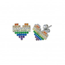 Wholesale Sterling Silver 925 Rhodium Plated Heart Multi Color CZ Stud Earrings - STE01253