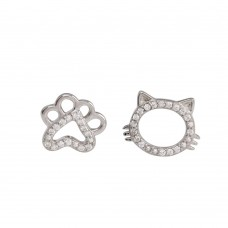 Wholesale Sterling Silver 925 Rhodium Plated CZ Cat And Paw Stud Earrings - STE01260