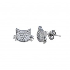 Wholesale Sterling Silver 925 Rhodium Plated Cat CZ Stud Earrings - STE01265
