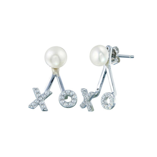 Wholesale Sterling Silver 925 Rhodium Plated Pearl Hugs and Kisses Earrings - STE01269
