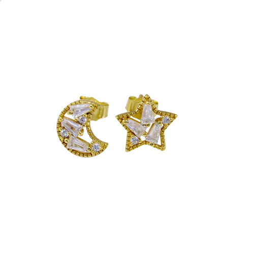 Wholesale Sterling Silver 925 Gold Plated Baguette CZ Star and Moon Stud Earrings - STE01271GP