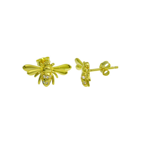 Wholesale Sterling Silver 925 Gold Plated Insect CZ Stud Earrings - STE01282