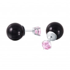 Wholesale Sterling Silver 925 Pink CZ Black Synthetic Pearl Stud Earrings - STE01000OCT