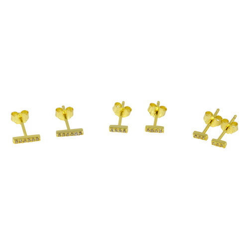 Wholesale Sterling Silver 925 Gold Plated Bar CZ  Earrings Set - STES00008GP