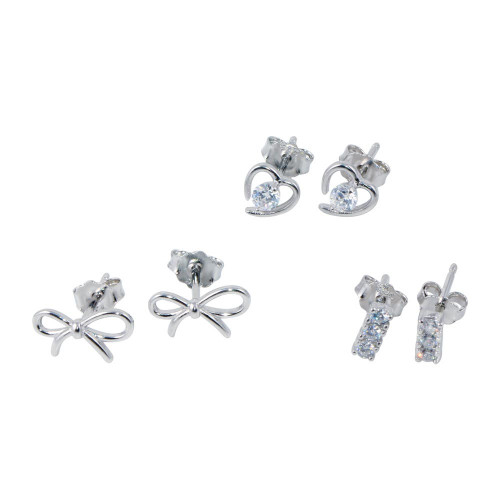 Wholesale Sterling Silver 925 Rhodium Plated Heart Bow and Bar CZ  Earrings Set - STES00010