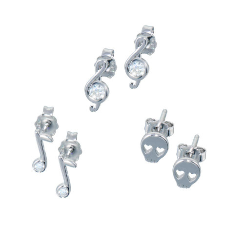 Wholesale Sterling Silver 925 Rhodium Plated Musical Note Skull CZ  Earrings Set - STES00011