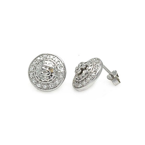 **Closeout Items** Wholesale Sterling Silver 925 Rhodium Plated CZ Disc With Dollar Sign Men's Earrings - STEM029