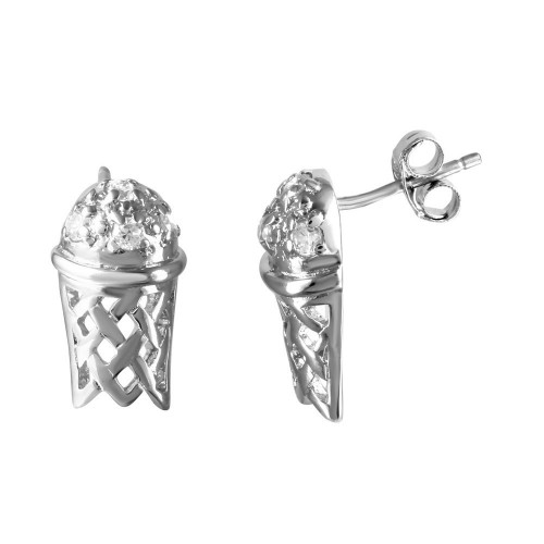 -Closeout Items- Wholesale Sterling Silver 925 Rhodium Plated Basketball Hoop CZ Men's Earrings - STEM035
