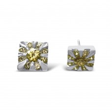 **Closeout Items** Sterling Silver CZ Sun Design Stud Earrings - STEM042
