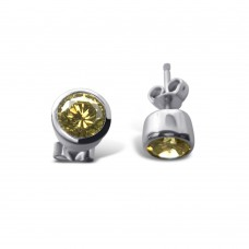 **Closeout Items** Sterling Silver Rhodium Plated Round Yellow CZ Stud Earrings - STEM047