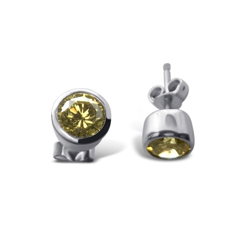 -Closeout Items- Wholesale Sterling Silver 925 Rhodium Plated Round Yellow CZ Stud Earrings - STEM047