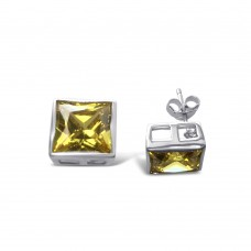 **CLOSEOUT** Sterling Silver Rhodium Square Yellow CZ Stone Stud - STEM054