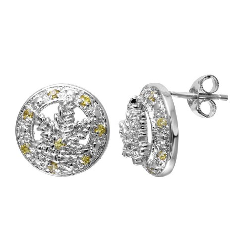 -Closeout Items- Wholesale Sterling Silver 925 Rhodium Plated Yellow CZ Marijuana Leaf Stud Earrings - STEM066YLW