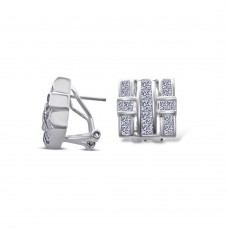 **Closeout Items** Men's Sterling Silver Square Cross CZ Design Lever back Earring - STEM094