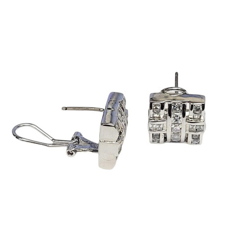 -Closeout Items- Wholesale Men's Sterling Silver 925 Rhodium Plated Square Cross CZ Design Lever Back Earrings - STEM094