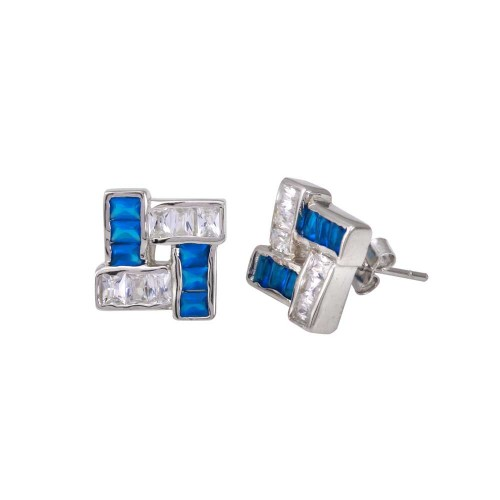 -Closeout Items- Wholesale Sterling Silver 925 Rhodium Plated Blue and Clear CZ Square Design Men's Earrings - STEM125