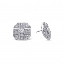 **Closeout Items** Sterling Silver Rhodium Cross Designed CZ Disc Stud Earrings  - STEM128