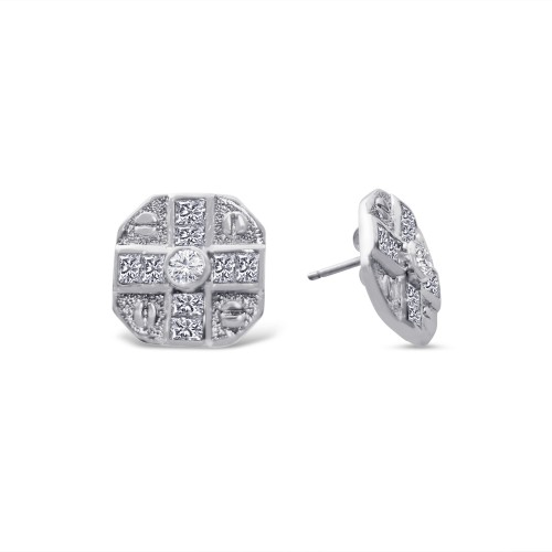 -Closeout Items- Wholesale Sterling Silver 925 Rhodium Plated Cross Designed CZ Disc Stud Earrings - STEM128