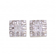 **Closeout Items** Wholesale Sterling Silver 925 Rhodium Plated Square DC CZ Design Men's Earrings - STEM131
