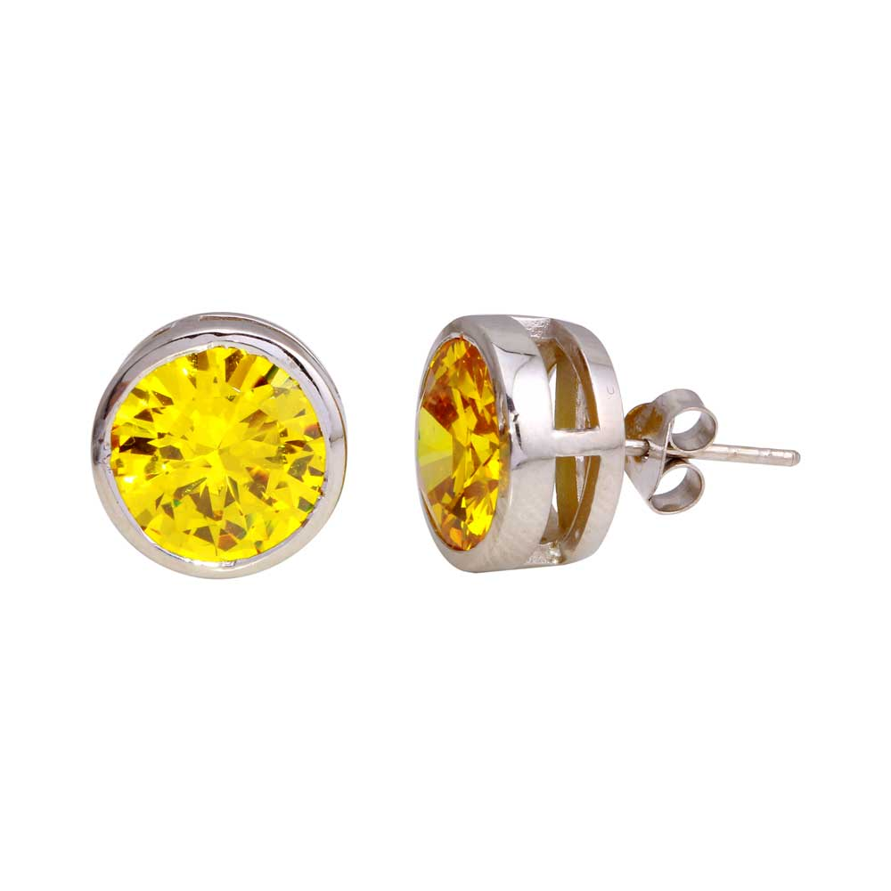 -Closeout Items- Wholesale Sterling Silver 925 Rhodium Plated Yellow Round CZ Stud 11mm Men's Earrings - STEM133