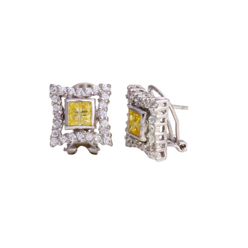Wholesale Sterling Silver 925 Rhodium Plated Yellow Square DC CZ Design Men's Earrings - STEM138YLW