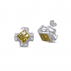 **Closeout Items** Sterling Silver Cross Design Invisible Yellow CZ Center Stud Earrings - STEM139YLW