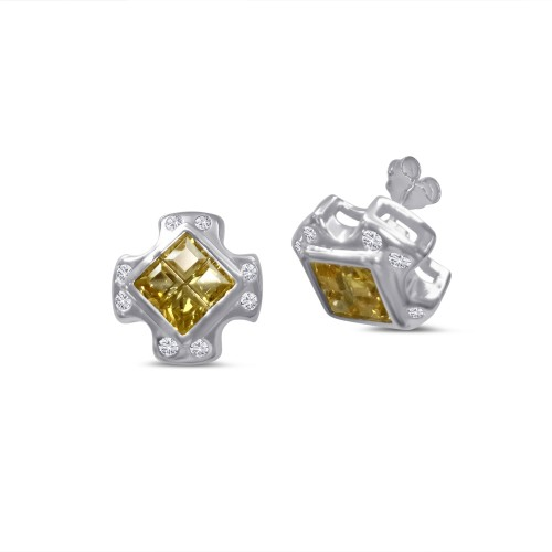 -Closeout Items- Wholesale Sterling Silver 925 Cross Design Invisible Yellow CZ Center Stud Earrings - STEM139YLW