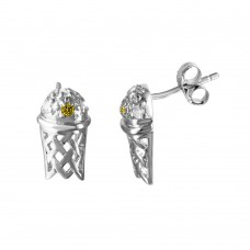 **Closeout Items** Wholesale Sterling Silver 925 Rhodium Plated Small Basketball Hoop Yellow CZ Men's Earrings - STEM134YLW