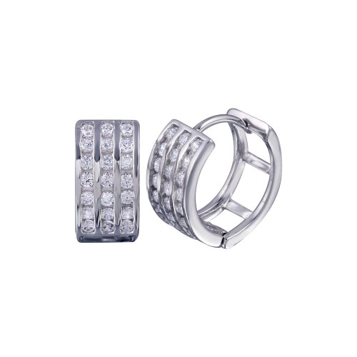 Wholesale Sterling Silver 925 Rhodium Plated Round Clear CZ Huggie Earrings - STE00687