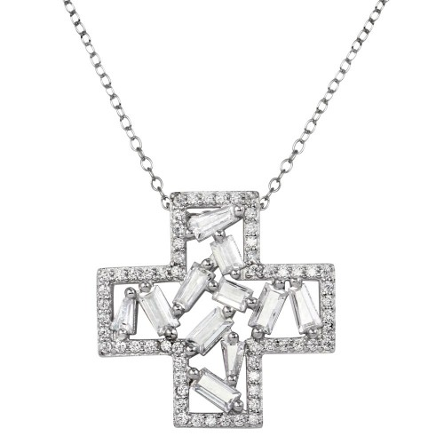 Wholesale Sterling Silver 925 Rhodium Plated Cross Pendant Necklace with CZ - STP01667