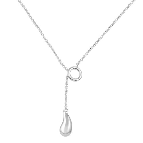 -CLOSEOUT- Wholesale Sterling Silver 925 Rhodium Plated Teardrop Necklace - STP00002