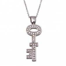 Wholesale Sterling Silver 925 Clear CZ Rhodium Plated Key Pendant Necklace - STP00006