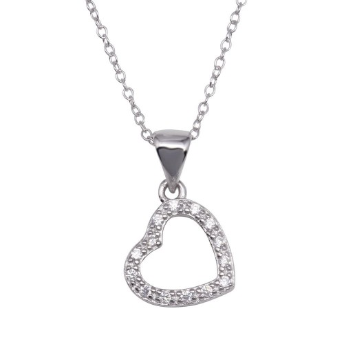 Wholesale Sterling Silver 925 Clear CZ Rhodium Plated Hanging Heart Pendant Necklace - STP00025