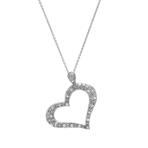**Closeout** Wholesale Sterling Silver 925 Rhodium Plated Clear CZ Heart Necklace - STP00026