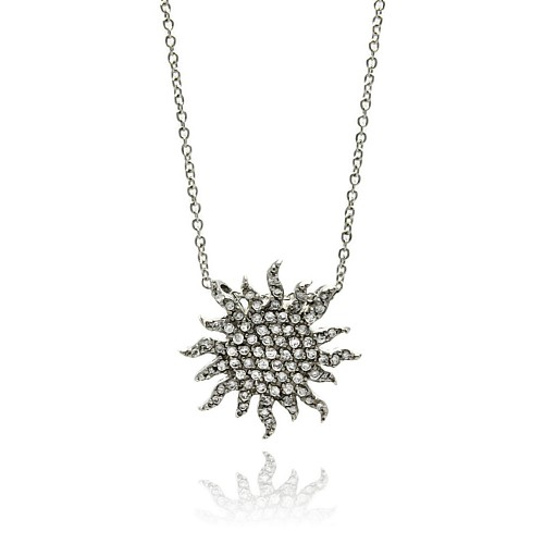 -Closeout- Wholesale Sterling Silver 925 Clear CZ Rhodium Plated Sun Pendant Necklace - STP00032