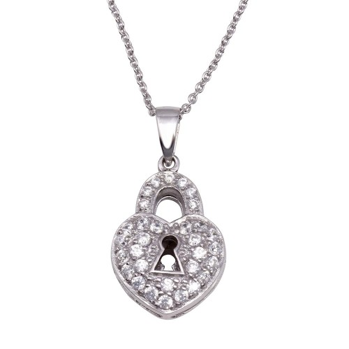 Wholesale Sterling Silver 925 Clear CZ Rhodium Plated Key Hole Heart Pendant Necklace - STP00112