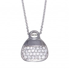 -CLOSEOUT- Wholesale Sterling Silver 925 Clear CZ Rhodium Plated Purse Necklace - STP00120