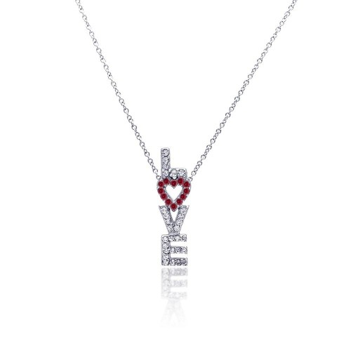 Wholesale Sterling Silver 925 Clear CZ Rhodium Plated Love Pendant Necklace - STP00212