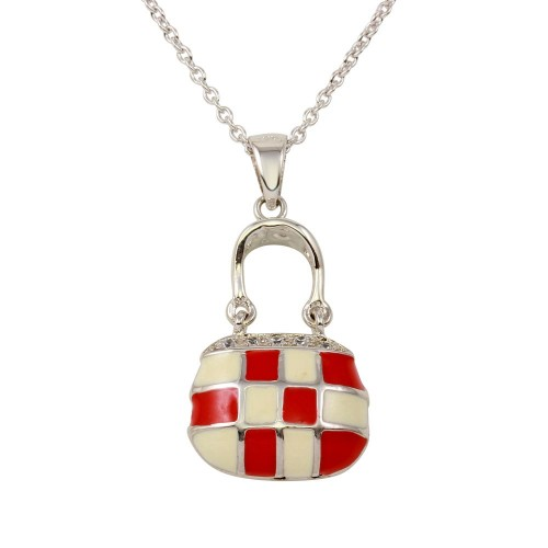 -Closeout- Wholesale Sterling Silver 925 Rhodium Plated Pink and White Checkered Purse Pendant Necklace with CZ - STP00215