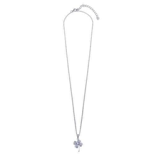 Wholesale Sterling Silver 925 Clear CZ Rhodium Plated Clover Pendant Necklace - STP00235