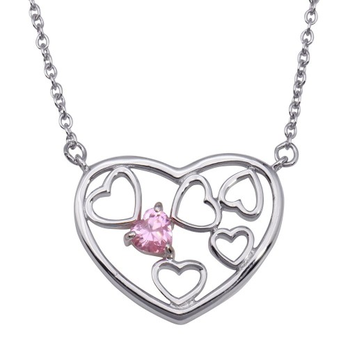 Wholesale Sterling Silver 925 Blue CZ Rhodium Multi Hearts Plated Pendant Necklace - STP00239