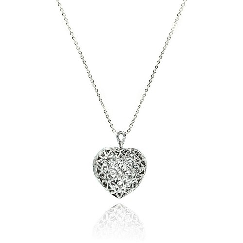 Wholesale Sterling Silver 925 Clear CZ Rhodium Plated Heart Locket Pendant Necklace - STP00251