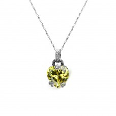 **Closeout** Wholesale Sterling Silver 925 Yellow CZ Rhodium Plated Heart Accent Pendant Necklace - STP00255YLW