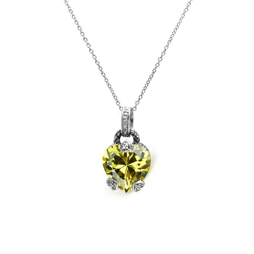 -Closeout Items- Wholesale Sterling Silver 925 Yellow CZ Rhodium Plated Heart Accent Pendant Necklace - STP00255YEL